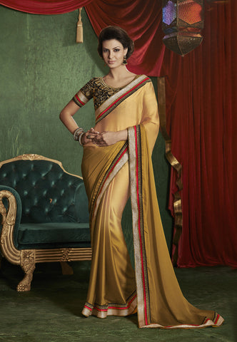 latest designer saree of crepe and jacquard in orange and beige and Fancy satin chiffon light gold saree with black color blouse Combo Offer