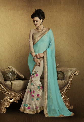 Designer fancy jacquard half half saree for parties and weeding and latest designer georgette cyan half half saree  for wedding Combo Offer