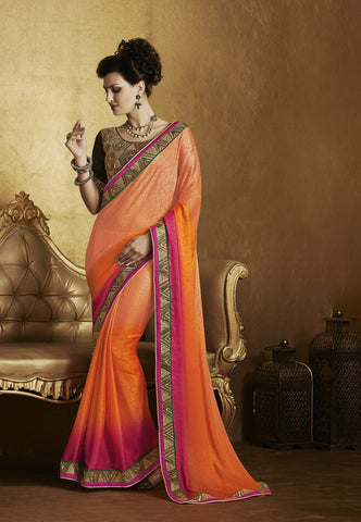 Designer chiffon pin and blue half half saree for parties and Home shop this designer orange color saree for parties and wedding Combo Offer