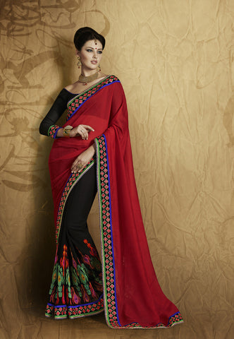 Designer brown and violet traditional  saree and Home shop designer red and black half half saree for parties Combo Offer