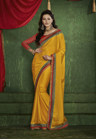 Designer Green and Golden saree with crepe for anniversaries and Designer Red and yellow party wear chiffon saree Combo Offer