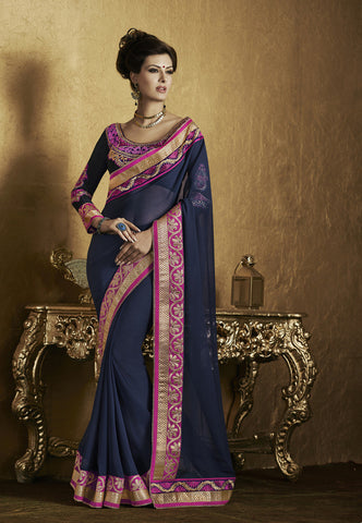 Home Shop designer maroon and black saree for parties and Designer Blue Heavy Border Half Half Chiffon Saree Combo Offer