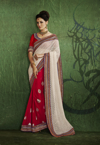 Designer Red and yellow party wear chiffon saree and Designer Red and white party wear net jacquard saree Combo Offer