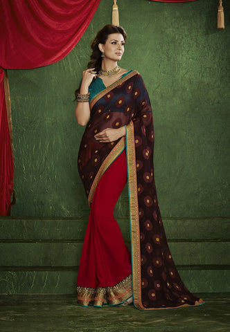 Home Shop designer maroon and black saree for parties and Shop Designer Wine Maroon Saree for parties Combo Offer