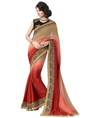 Designer Beige and Red Satin Silk Saree