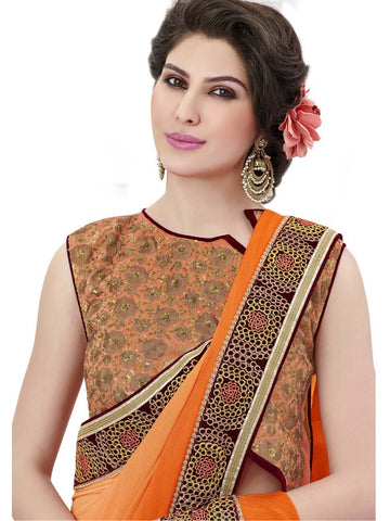 Saree Orange,Satin Jacquard