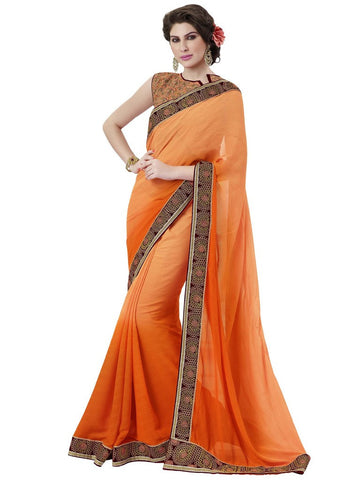 Designer Orange Satin Jacquard Saree
