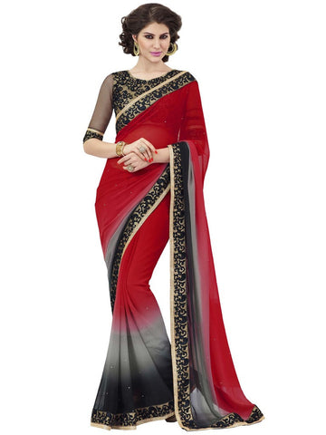 Designer Red and Black Saree in Georgette