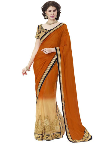 Designer Orange Chiffon Jari Saree