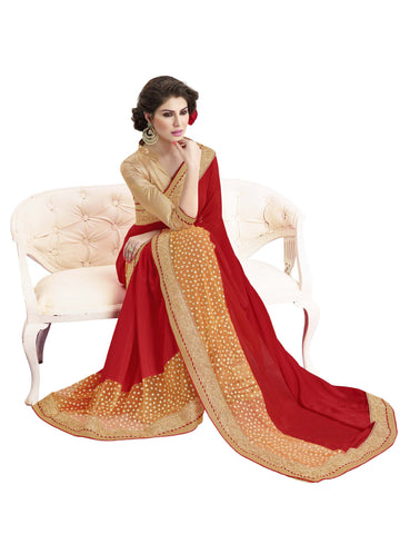 Designer Satin Chiffon Red and Golden Saree