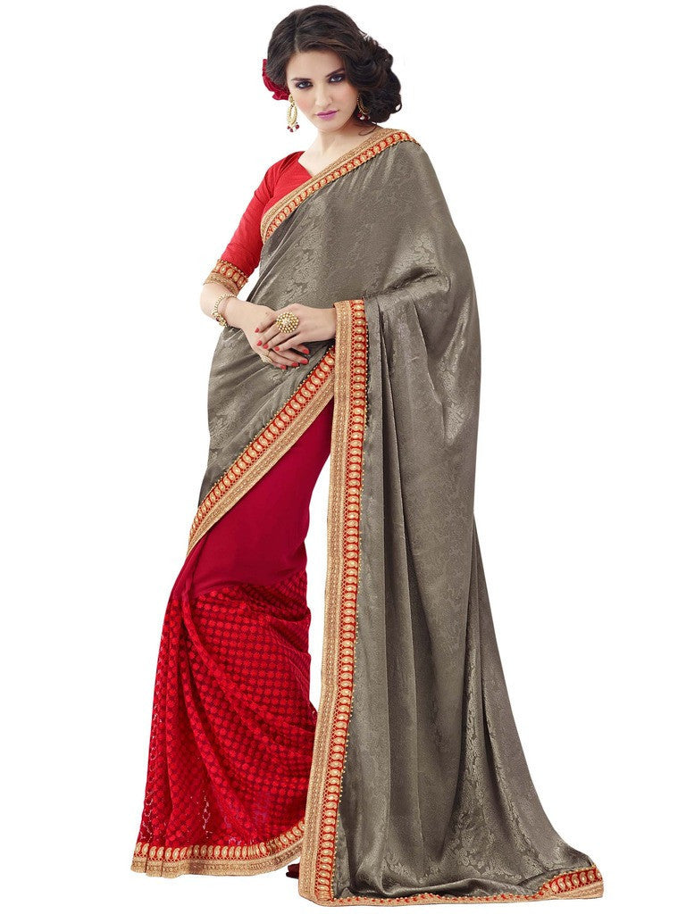 7cf04a1a1a ... saree with velvet blouse Combo Offer. Pink and beige crepe silk sree