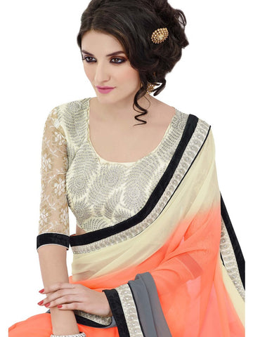 Saree Off White , Orange,Georgette