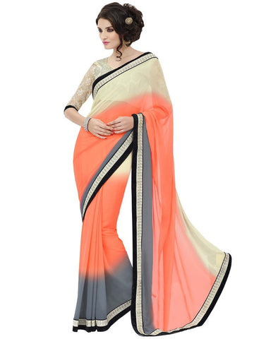 Designer Saree in Off white and Orange Blouse