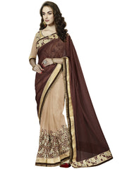 Designer beige and coffee brown saree for parties