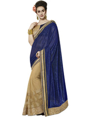 Designer beige and violet color saree for parties