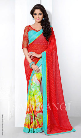 Bamberg Poly Georgette Red and Cyan Saree with prints