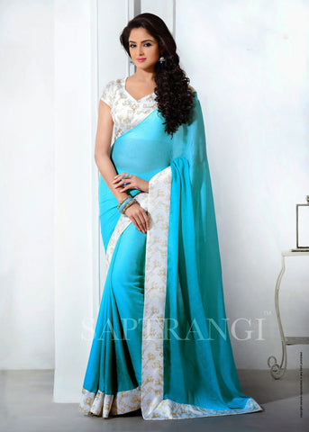 Crape Silk Turquoise Saree with for party