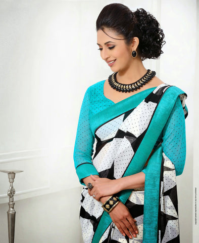 Blue black and white printed saree
