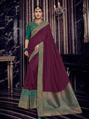 Wine Silk Party Wear Saree With Green Blouse