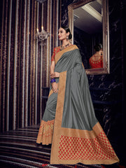 Grey Silk Party Wear Saree With Red Blouse