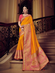 Yellow Silk Party Wear Saree With Pink Blouse