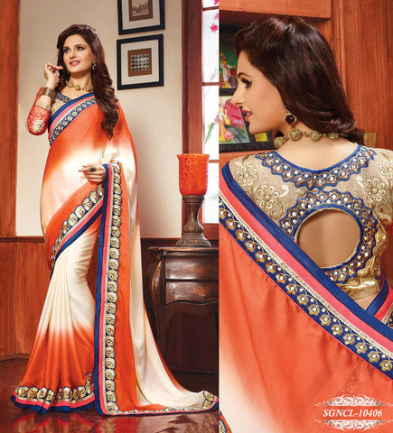 Saree Orange , Cream,Georgette
