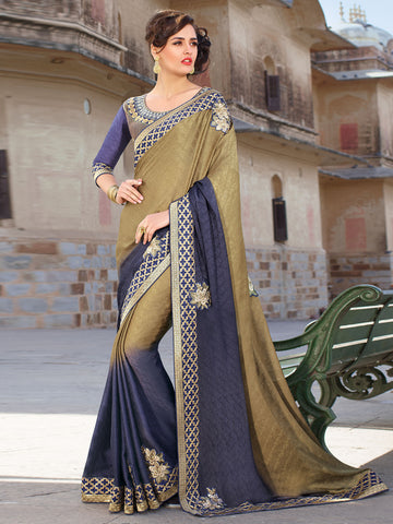 Gold , Beige,Jacquard Crepe,Party wear designer saree