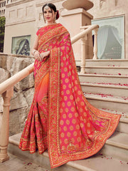 Pink Silk Party Wear  Saree With Red Blouse