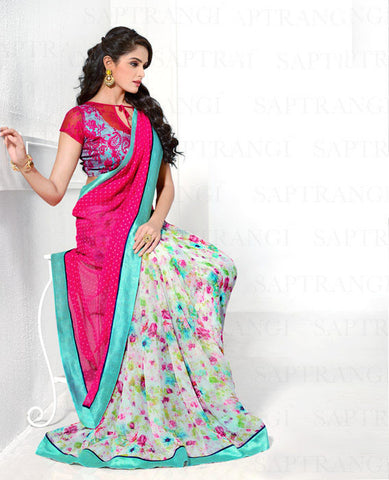 Crepe Silk Printed Saree In Dark Pink