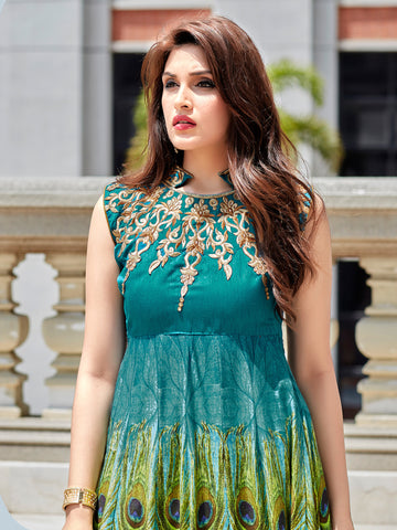 Green,Cotton,Designer anarkali suits