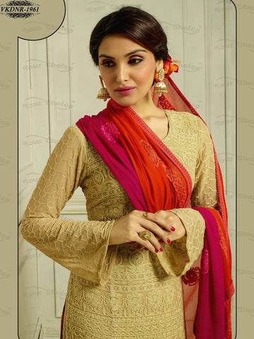 Beige designer long knee length straight salwar suits