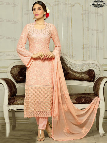 Straight long party wear suits,Peach,Pure Chiffon