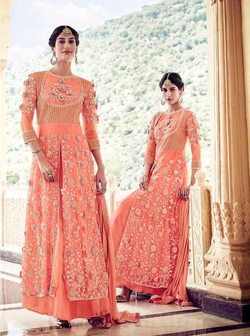 Peach,Heavy Naylon Net,Party wear designer suits