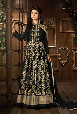 Black,Faux Georgette,Heavy designer suits