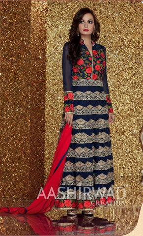 Blue,Georgette,Party wear designer suits