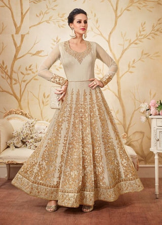 Beige Net Embrodiered Abaya Style Anarkali With Duaptta