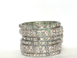 Silver Glass bangles for wedding with bead work