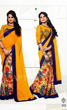 Chiffon Yellow and blue saree  saree i