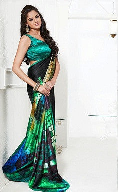 Green printed jacquard saree with lace border