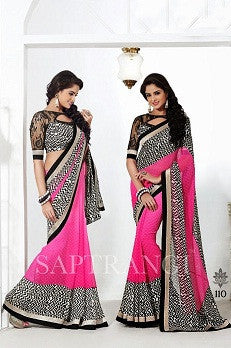 Pink and black saree with lace border and net sleeve blouse
