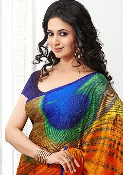 Multicolored designer saree with multi shades of green and blue