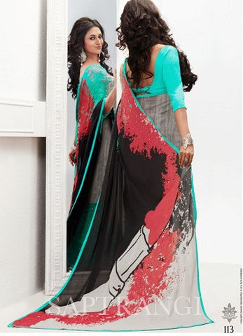 Mutlicolored saree with aqua and black tone