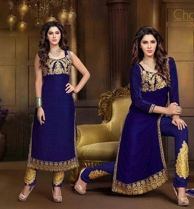 Long designer blue velvet salwar kameez for women