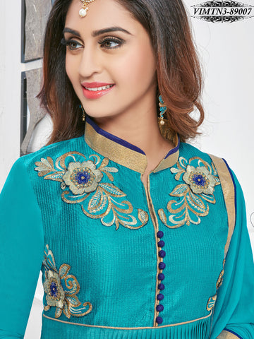 Turquoise , Blue,satin,Designer anarkali suits