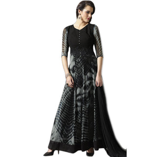 Designer Grey and Black Georgette Suit