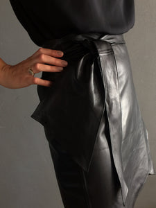 BLACK LEATHER | THE WRAP SKIRT