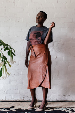 NEW! TAN LEATHER | MIDI WRAP SKIRT