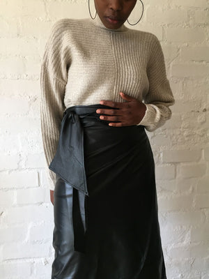 BLACK GENUINE LEATHER | THE MINI OR MIDI WRAP SKIRT