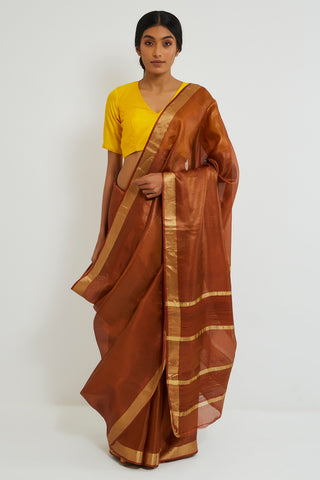 Rust Handloom Pure Silk-Tissue Sheer Saree with Gold Zari Border and Pallu