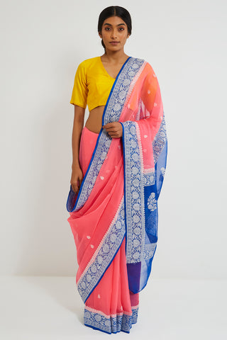 Pink Handloom Pure Silk-Chiffon Banarasi Saree with Zari and Blue Border